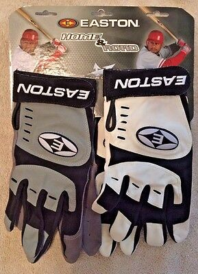 Nwt Easton Home & Road Batting Gloves Adult L Large Black White Grey 2 Pair