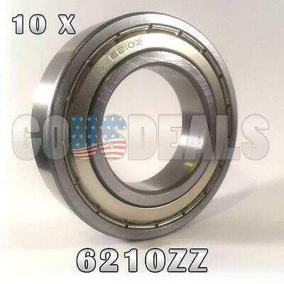 6210Z 6210ZZ 6210 Z 6210 ZZ Deep Groove Ball Bearing 50mm x 90mm x 20mm 10 Pcs