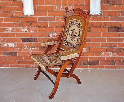 Circa 1890's Victorian Etched Wood Tapestry Carpet Bag Seat Folding Arm Chair