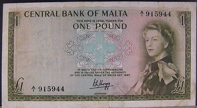 1967 Malta, Central Bank of, One Pound, Circulated, Nice ** FREE U.S SHIPPING **