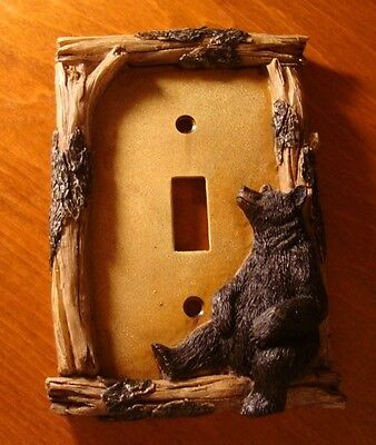 Black Bear Single Toggle Light Switch Plate Switchplate Cabin Wall Cover Decor