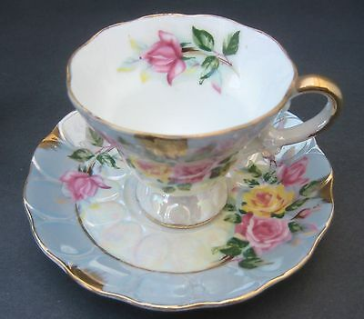 Cup & Saucer Lusterware Blue with Pink & Yellow Flowers Unmarked Tea Cup