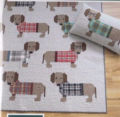 Dogs in Sweaters - fun modern pieced quilt PATTERN - Elizabeth Hartman