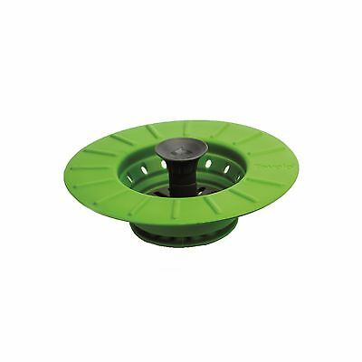 Tovolo Sink Stopper Drain Plug Strainer Green Silicone Collapsible Easy Storage