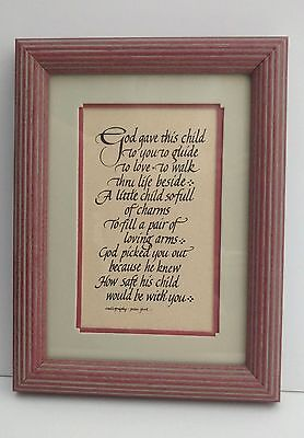 "Vintage Framed Nursery Wall Plaque-Handcrafted Calligraphy-Rare - 8"" x 6"" - Baby"