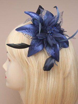 Stunning Navy Blue Fascinator For Weddings Ladies Day Races Prom Hen & Parties