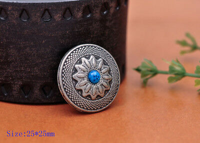 10PC 25X25MM Vantage Silver Sun Flower Turquoise Rope Screwback Tack Conchos Set