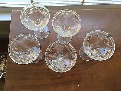 5 antique Boston And Sandwich Banded Columbine Champagne Coupe Glasses 1870-1887