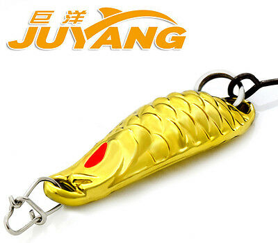 JUYANG Worm Spoons Bait Tiny One Hook Fishing Metal Lure Gold Silver 1.5g