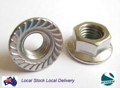 Qty 2 M10 304 A2 Grade Stainless Steel Hex Serrated Nut 10mm Flange Nuts