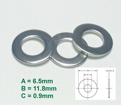 Qty 20 M10 10mm 316 Marine Grade Stainless Steel 1.2mm Thick Flat Washer