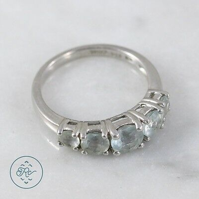 Sterling Silver | KIRAN Round Cut Aquamarine Band 2.9g | Ring (7) MX3923