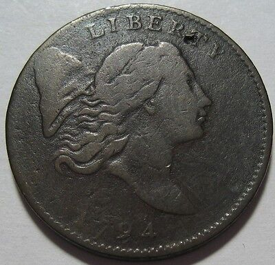 = 1794 Half Cent, Low Mintage 81K, Better Date, Partial Hole, FREE Shipping