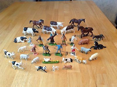 X33 Vintage 1970/80 Britains + Other Plastic Farm Cows Pigs Horses Animal People