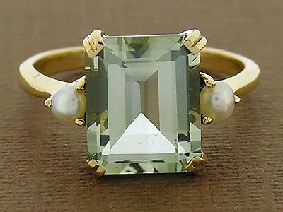 R241 Genuine 9ct Solid Yellow Gold Green Amethyst & Pearl Solitaire Ring size O