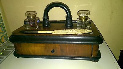 Antique Beautiful  Victorian Mahogany Double Inkwell with Portable Handle