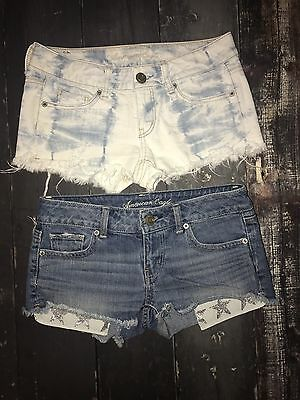 Used Hollister  American Eagle Size 0 Women's Distressed Denim Shorts Lot of 2