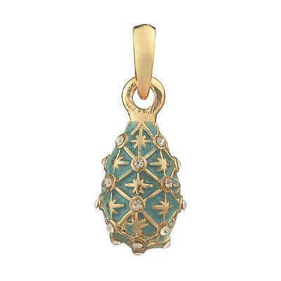 Faberge Egg Pendant / Charm with crystals 2.4 cm light blue #1558-10