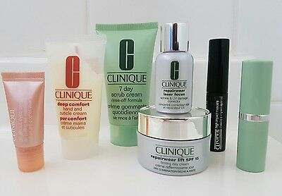 CLINIQUE 8 Piece Mixed items Skincare Makeup & Toiletry Bag NEW & UNUSED