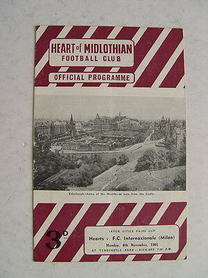 Hearts v Inter Milan 1961/62 Fairs Cup