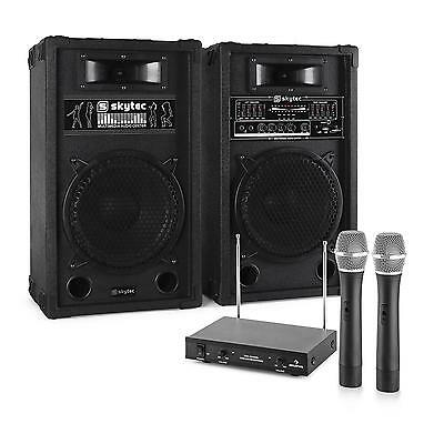 Professional Karaoke Pa Loud Speakers + Wireless Microphone Entertainment System