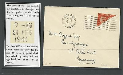 Guernsey SG482a - 2d Bisect on cover - 1941  with RARE cancel