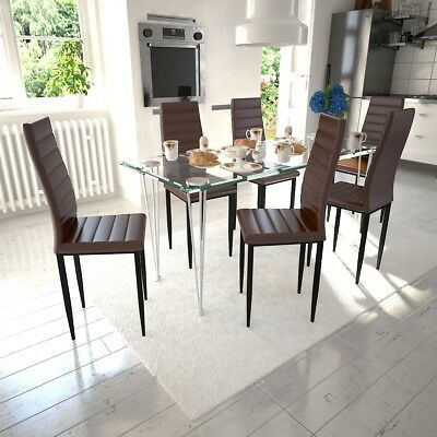 Set of 6 Brown PU Faux Leather Dining Chairs Kitchen Cafe Furniture Slim Line