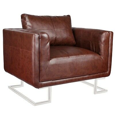 New French Arm Chair Dining Armchair Retro Wingback Sofa Wing Style Lounge Brown