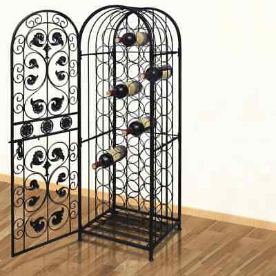 vidaXL Wine Rack for 45 Bottles Metal Storage Cabinet Organiser Lockable