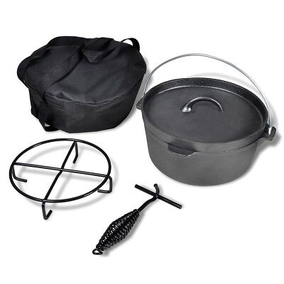 Dutch Oven 4.2L Round Storage Bag Iron Black Camping Caravan Motorhome Fireplace