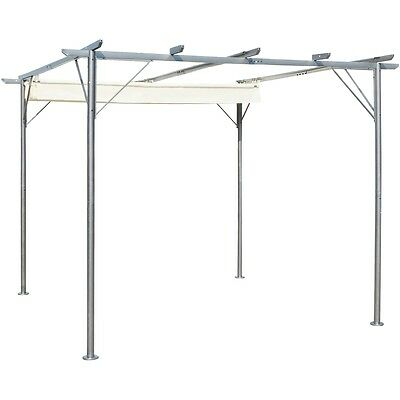 3x3m Outdoor Garden Pergola Gazebo Marquee Canopy Roof Shade Steel Cream white