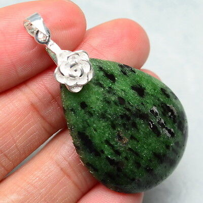 """Natural Ruby Zoisite Gemstone 100% Solid 925 Sterling Silver Pendant 1 7/8"""""""