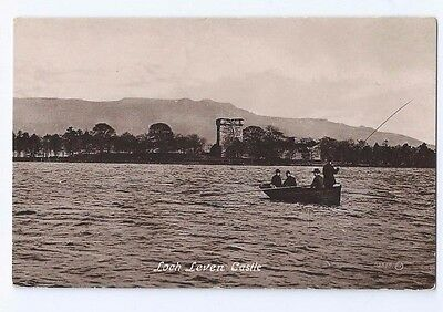 Postcard Fisherman Fishing Loch Leven Castle 1906 Gardiner Milnathort RP Kinross