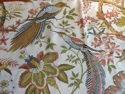 Sanderson Suva Curtain Fabric Remnant Piece Birds Floral Muted Colours