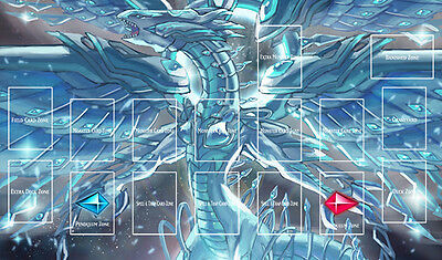 F1813# Free Mat Bag Blue-Eyes White Dragon Yugioh TCG CCG Custom Playmat Layout