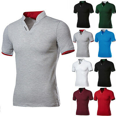 Summer Men Stylish Short Sleeve T Shirt Stripe Cotton Casual Tee Tops T-Shirts
