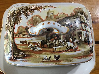 Antique Coaching Scene Horse Series Ware Butter Dish L&Sons Hanley
