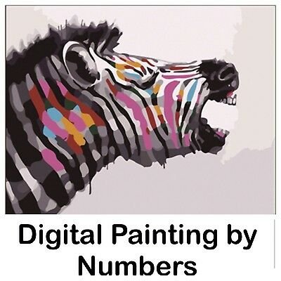 """20x16"""" Digital Paint By Number Kit. Fabric Canvas & 15 Colours. Art Picture Gift"""