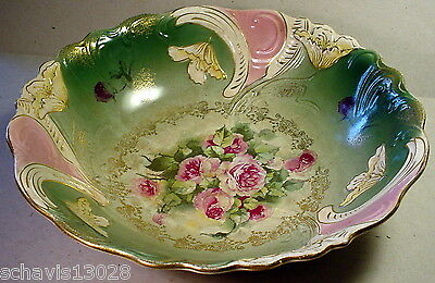 Buffalo Pottery Embossed Fruit Center Console Bowl Prussia Style Roses Vintage