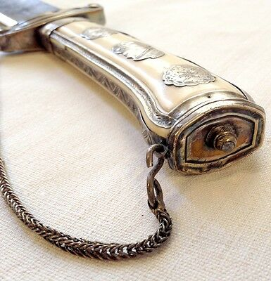 Fine antique French silver mounted hunting knife/hanger c1770