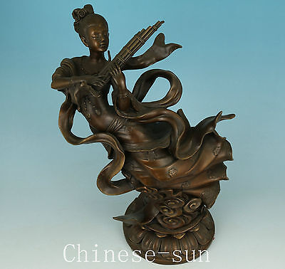 4.2KG  Asian Chinese Bronze casting Fairy Statue Figure Art