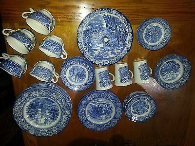 Vintage Liberty Blue Staffordshire Ironstone China Set -62 pieces blue and white
