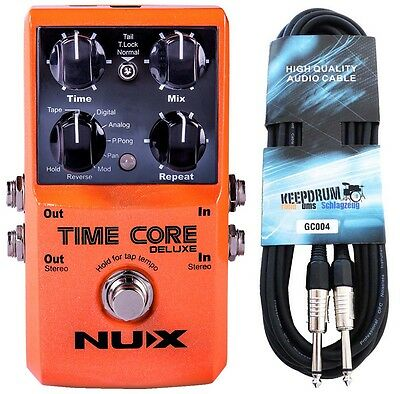NUX Time Core Deluxe Multi Delay Pedal + KEEPDRUM Gitarrenkabel 6m