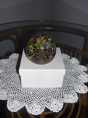 Vintage Glass Round Blue,Yellow and Reddish Orange Glass Paperweight