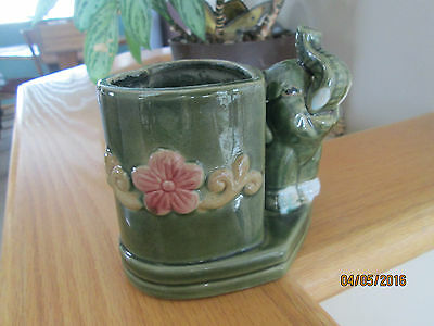Vintage Collectible Ceramic Green with red flower Elephant Planter