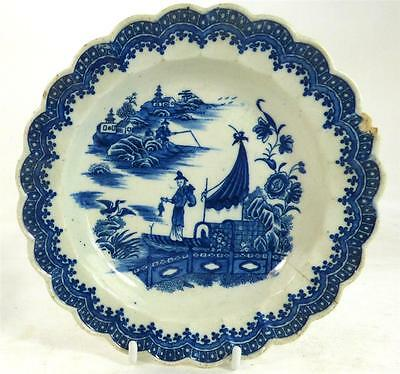 18Th Century Caughley Salopian Porcelain Plate Fisherman & Comorant Pattern