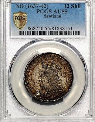 1637-1642 Charles I Scotland Silver Briot's 12 Twelve Shillings Coin PCGS AU55