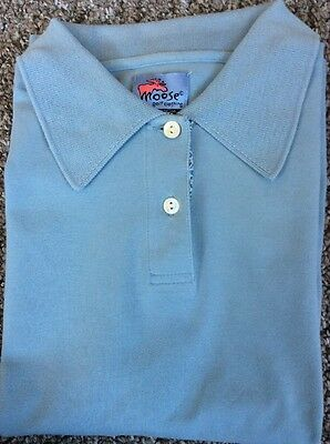 Moose Golf Powder Blue Short Sleeved Polo Top Shirt Size 16