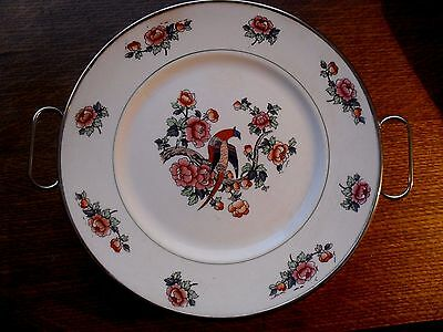 "Antique Excello 9"" Porcelian Plate With Metal Warming Dish-Bird Of Paradise"