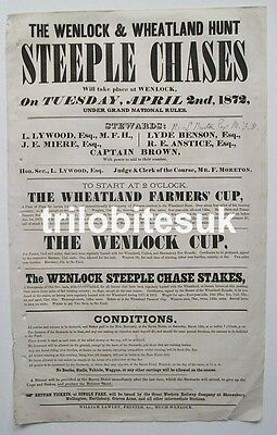 1872 MUCH WENLOCK HORSE RACES Steeple Chases Shropshire Orig Racing Broadside